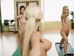 Breasty yoga coach teaching new techniques to 2 hotties