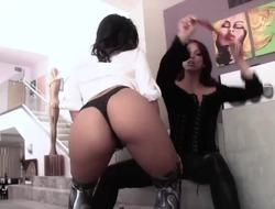 Ebony chick Nicki Hunter and Asian girl Cindy Starfall frolic with their charms previous to hawt lesbian love action.